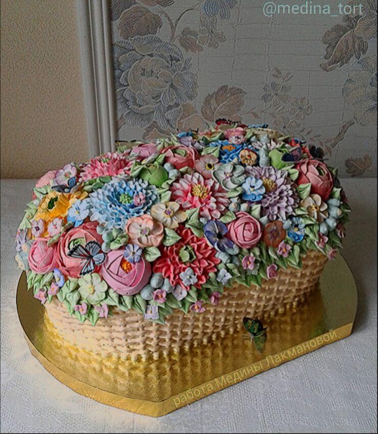 Кремовый торт корзина с цветами; dekor-tort.livemaster.ru