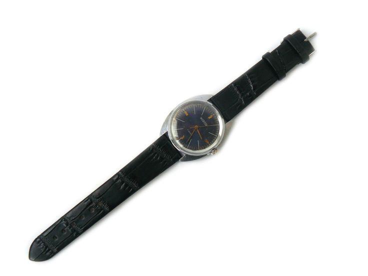 Vintage Vostok watch 17 jewels mechanical watch Wostok soviet classic men watch with blue dial USSR watch wristwatch with black strap (40.00 USD) by nostalgishop