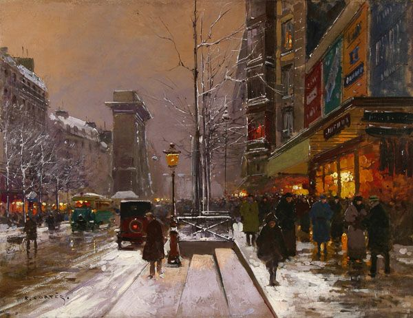 Edouard Leon Cortes - Porte St. Denis, Winter | oil on canvas. This and more important fine art for sale on CuratorsEye.com