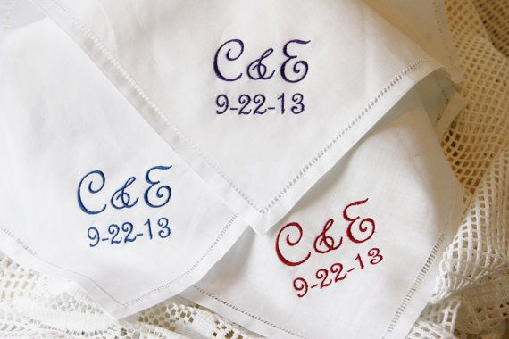 2 Initial Monogram and Wedding Date Linen Hemstitch by elgies, $22.00