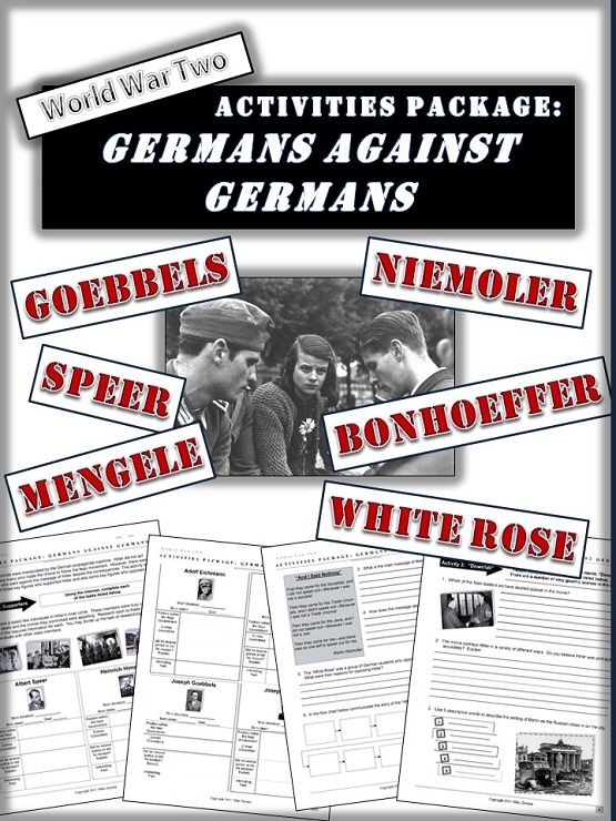 A very interesting lesson that has students research some of the senior Nazi figures who supported Hitler and also profile several Germans who chose to stand up to Hitler.