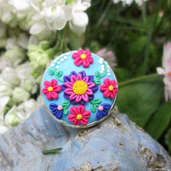 pink polymer clay ring colorful ring fall fashion style trendy by FloralFantasyDreams