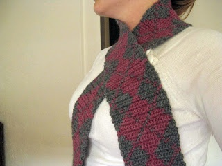 Crochet Pattern: Argyle Lacy Diamonds Hair Scarf in 2