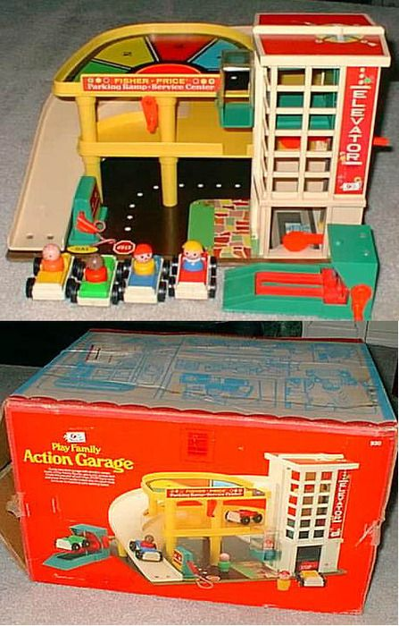 Fisher Price Garage Ha! I was drooling over this, like, today.  doree:  In honor of I'm Remembering's posting the Fisher-Price Medical Kit, I would like to remind everyone of the Fisher-Price Little People, and especially their garage, which I was sort of obsessed with. [Photo via]