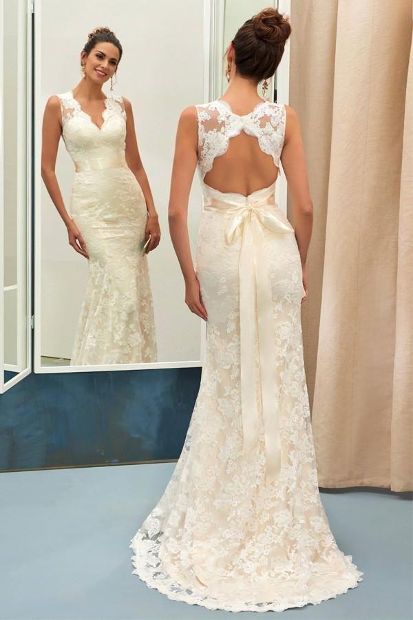 Simple Ivory Slim Line V Neck Sleeveless Lace Wedding Dress Bridal Gown With Sash Sheath Wedding Dress Lace Bridal Gowns Mermaid Bridal Dresses