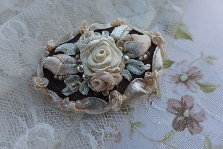 """Cameo brooch """"Pure happiness"""" victorian style hand made romantic jewelry, golden cream & brown textile art with ribbon embroidery by Virvi on Etsy"""