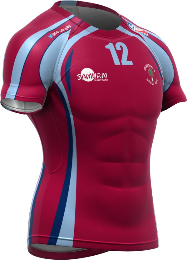 The first of the GB7s rugby kits to be revealed are for the Crawshays Welsh team. This is their Iconix shirt.
