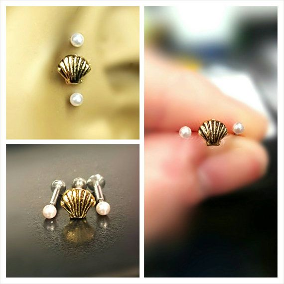 Seashell triple cartilage set  Etsy listing at https://www.etsy.com/listing/267998049/gold-seashell-pearl-tragus-cartilage