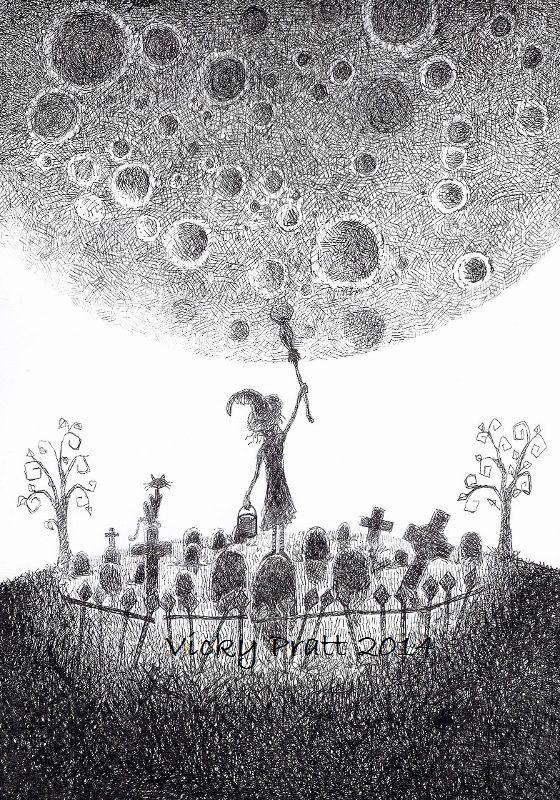 Week 18: Celestial Body. Moon Witch. Unipin fine liner on bleed proof paper. vicpratt.wix.com/... Find me on Facebook Vicky Pratt - Illustrator.