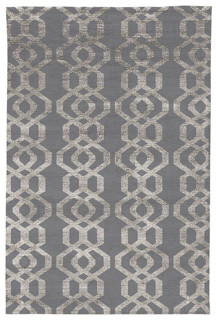 Judy Ross Hand-Knotted Custom Wool Trellis Rug cadet/silver silk