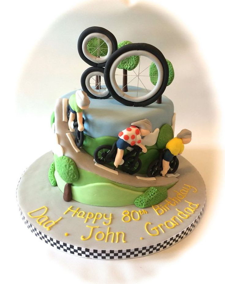 80th Birthday cake based on Tour de France with bike wheel topper, cyclists, bike and road spiral by www.facebook.com/cakeinspirations