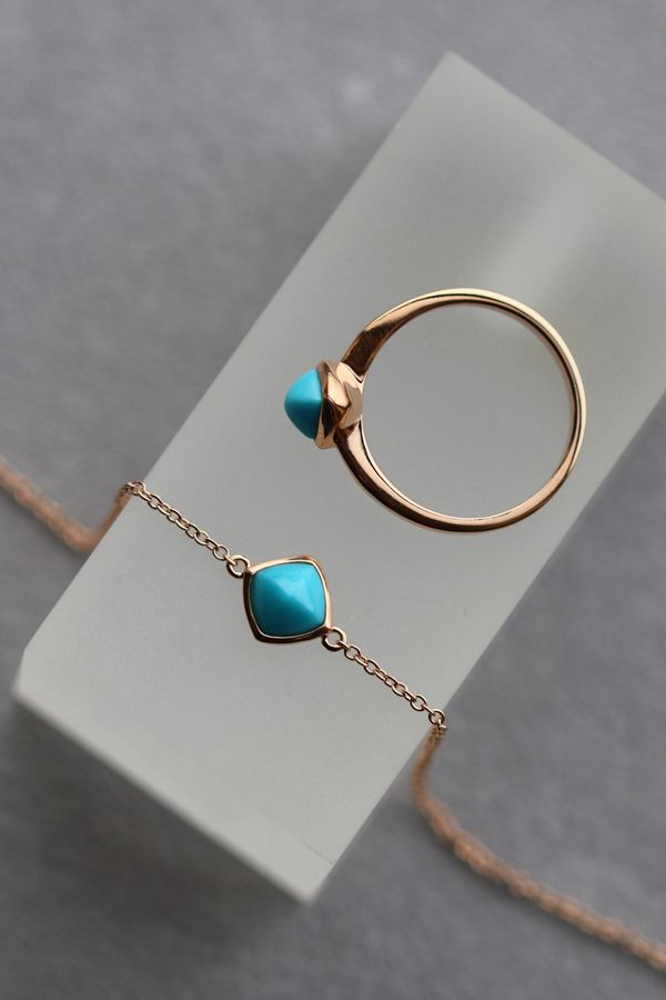 Gemondo Rose Gold Plated Sterling Silver Cushion Turquoise Ring