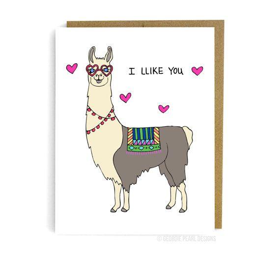 Llama Valentine Card. I Like You Card. by ...