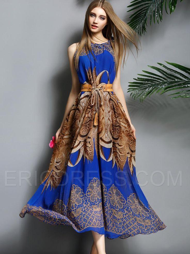 Ericdress Blue Graceful Sleeveless Maximum Style Dress 2