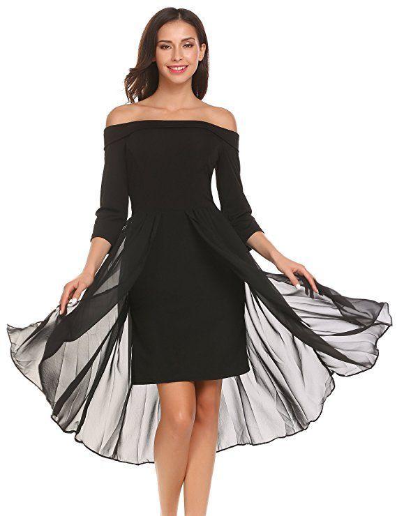 Feminines Kleid für Brautjungfern. Perfekt für Cocktailparty, Hochzeit, Abschlussfeier … – ❤ Hochzeit in schwarz – weiß