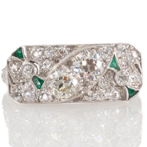 An original Art Deco diamond and emerald plaque ring. View our collection of antique, Art Deco, and modern jewellery at www.rutherford.com.au