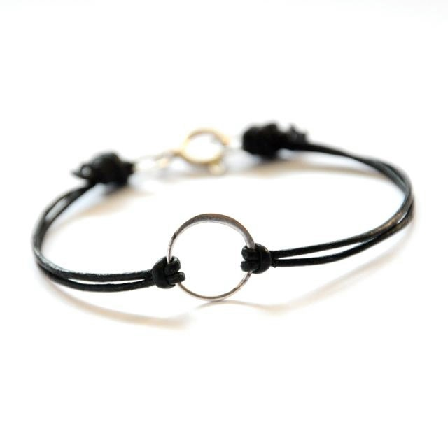 Leather Karma bracelet sterling silver circle by BeCharmedDesigns