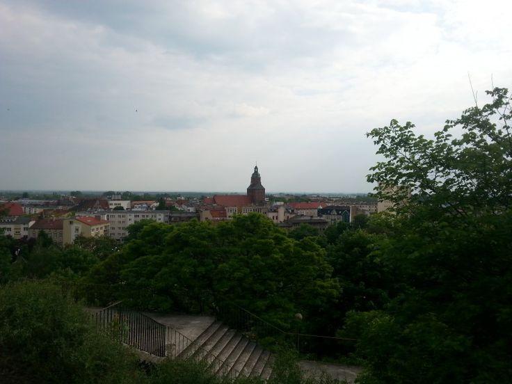 Katedra widoczna z Parku Siemiradzkiego w Gorzowie