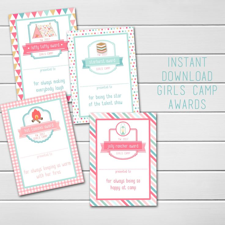 Young Women Girls Camp Awards, LDS Girls Camp, Blank Awards, Candy Treat Award Ideas & Cards, Instant Download, Mormon, Mutual Girls Camp by emmiecakes on Etsy https://www.etsy.com/listing/501491330/young-women-girls-camp-awards-lds-girls