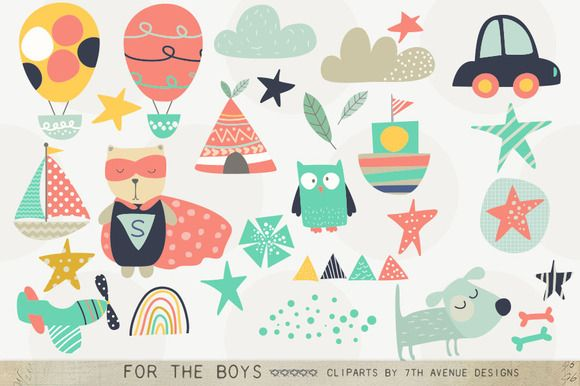 For the Boys Clipart by 7th Avenue Designs on Creative Market