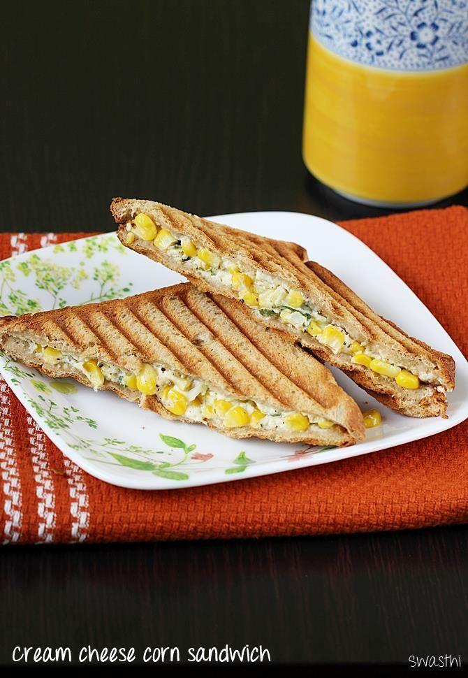 Corn cream cheese sandwich recipe | Grilled corn cheese sandwich