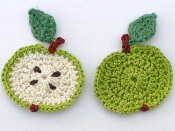 Crochet applique 2 small crochet green apples by MyfanwysAppliques, £2.50