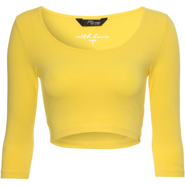 Jane Norman Half Sleeve Crop Top ($6.38) ❤ liked on Polyvore featuring tops, shirts, crop tops, blusas, yellow, yellow crop top, cami shirt, cami top, elbow sleeve tops and yellow cami top