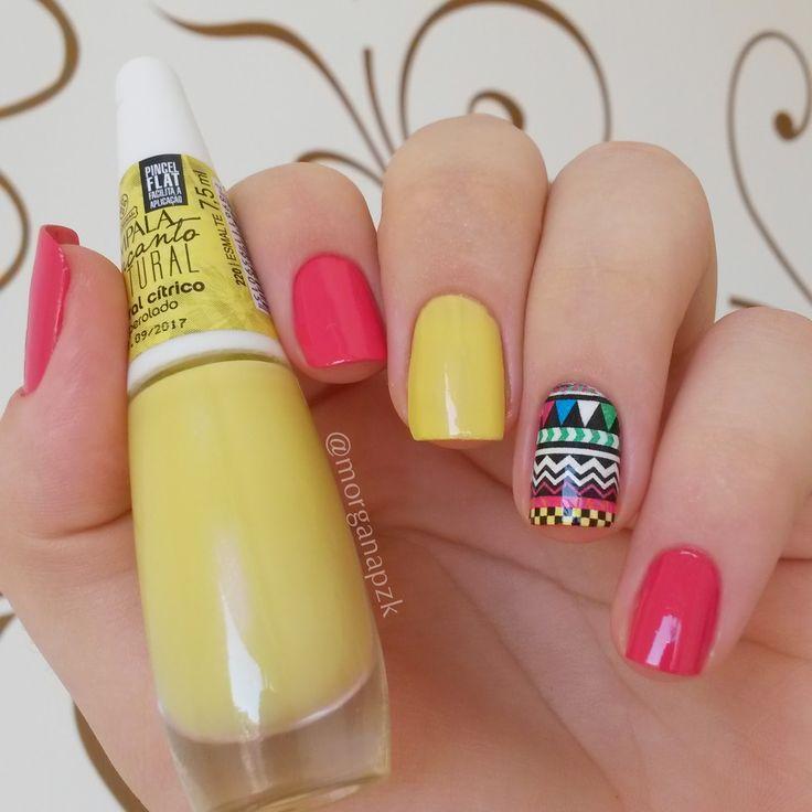 Floral Crítico Impala + Charged Up Cherry OPI + Película Estilo Rosa. Yellow and pink nails. Nail art. Nail design. Unhas decoradas. by @morganapzk