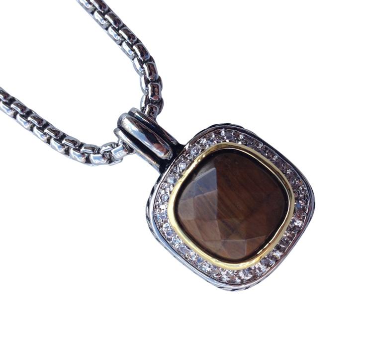 "16"" + EXT Brown Stone & Rhinestone Pendant Necklace Retail - $31.25 You Pay - $15.63 w/ free shipping in the US."