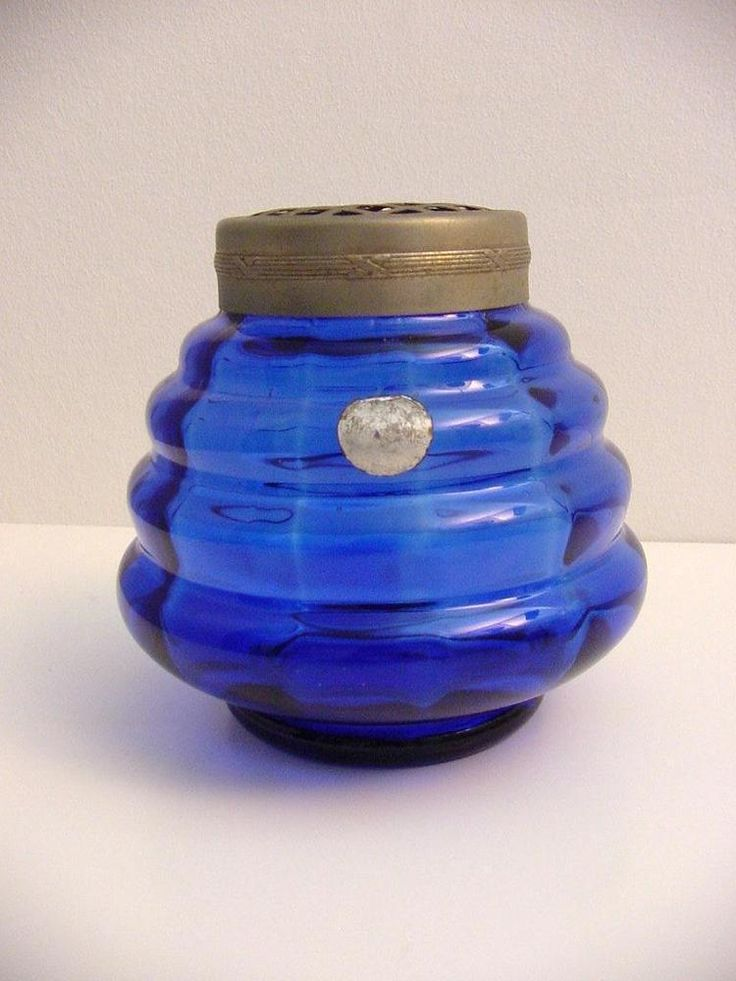 Art deco blue glass rose bowl Doyen Belgium