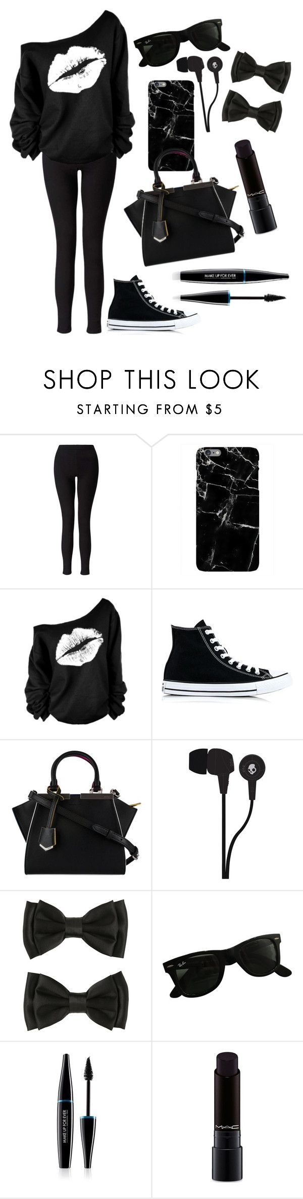 """Untitled #198"" by electraz on Polyvore featuring Miss Selfridge, Converse, Fendi, Skullcandy, Ray-Ban, MAKE UP FOR EVER and MAC Cosmetics"