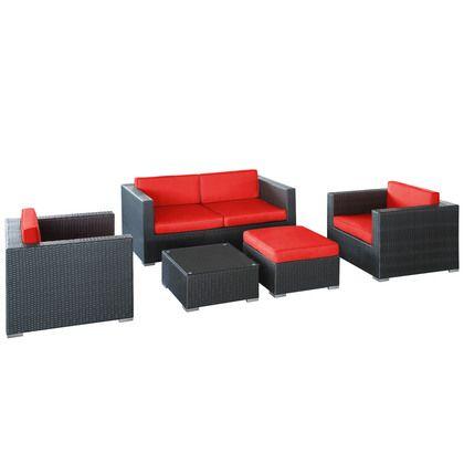Modway Malibu 5 Piece Sofa Set in Espresso Red