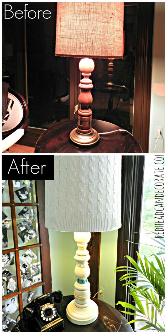 $4 Thrift Store Lamp Makeover w/ an Old Sweater & Mom's Jewelry~ Redhead Can Decorate #lamp #makeover