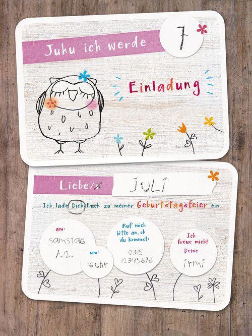 """Einladungskarte Kindergeburtstag """"Eule"""" für Mädchen, A6, zum selbst ausfüllen, 5er-Set"""