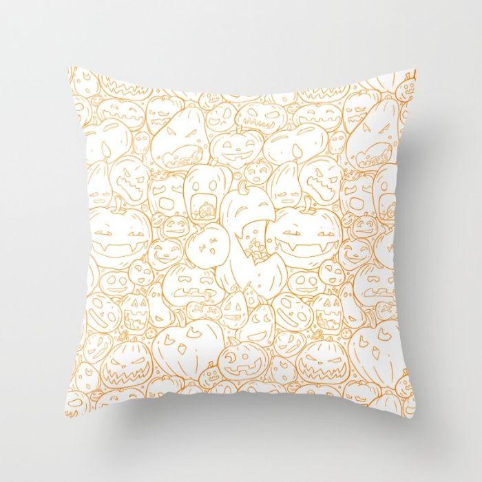 Pumpkin Halloween line pattern Throw Pillow by StrijkDesign | Society6