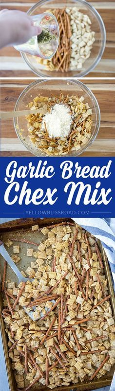 Garlic Bread Chex Mix - A delicious snack made with Chex cereal, Garlic, Basil and Parmesan. (In partnership with Vons.)