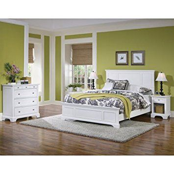 Home Styles 5530-5014 Naples Queen Bed, Night Stand and Chest, White Finish