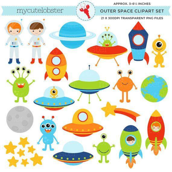 Planet outer space. Clipart set clip art