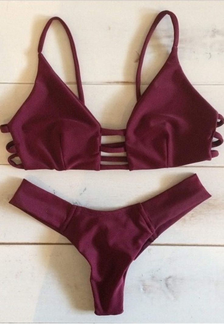 Claret-red Reversible bikini Retro Halter padding push up swimsuit Low waist Bandeau Bikini Brazilian Maillot De Bain $10.99