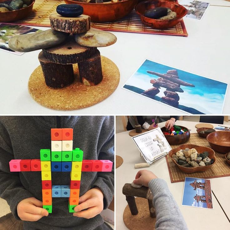 "44 Likes, 3 Comments - Laura King (@kindergartenteachertired) on Instagram: ""Inukshuk building: harder than it looks! A great fine motor and problem solving activity for the…"""