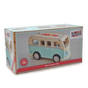 Indigo Jamm - Colin's Camper Van: A retro camper van complete with wooden peg Mum, Dad, two children and a wooden dog. Made from durable rubber wood with an attractive paint work finish, the camper van has a removable roof to allow easy access to the inside where the peg people can be put into their matching coloured seats. #alltotstreasures #indigojamm #colin'scampervan #woodentoys #retro #pretendplay #van #family #campervan