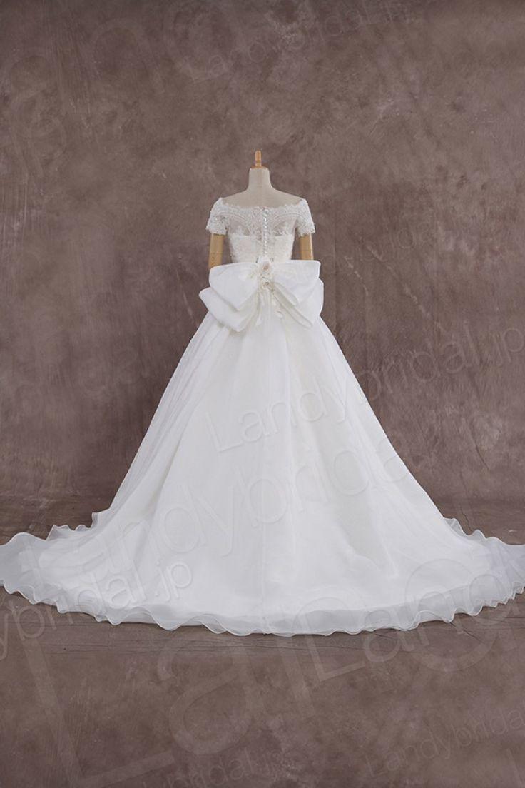 ウェディングドレス ビスチェ プリンセスライン 取り外し可能なボレロ リボン ld3651 価格 ¥63,180