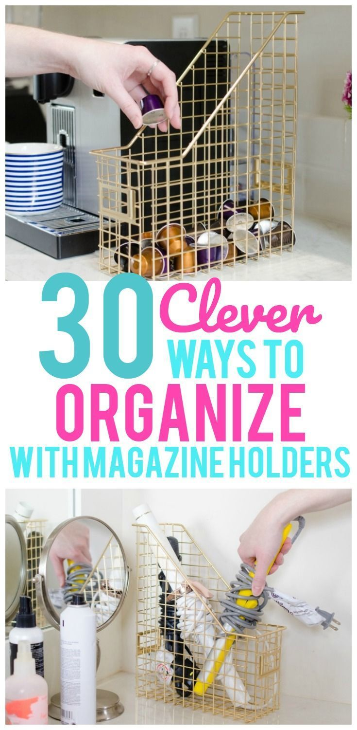 Who would have ever thought you could use a magazine holder for anything other than magazines? But to our surprise there are so many ways to use magazine holders to organize your home! Seriously! Pantry storage, toiletry storage, hiding your wireless router…even organizing your freezer. The thing you can do with these are endless! Magazine ... Read More about 30 Clever Ways to Organize With Magazine Holders #organizeyourlife