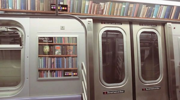 "A subway library prototype - scan a ""book"" to get a 10-page preview and at the end, it tells you the closest library where it's available!"