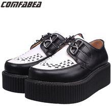Femmes Chaussures En Cuir Véritable de Grande Taille 34 ~ 44 Noir Blanc Couleur Hommes Femmes Unisexe Plat Plate-Forme Chaussures Goth Punk Harajuku Creepers(China (Mainland))