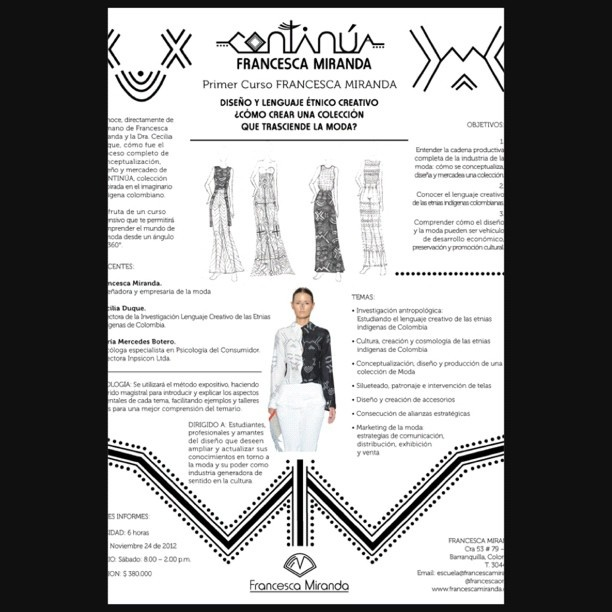 ¿Como crear una colección que trasciende la moda? #CONTINÚA #curso #Escuela #Diseño #Noviembre 24, 2012. Info @ escuela@francescamiranda.com - @francescaonline- #webstagram
