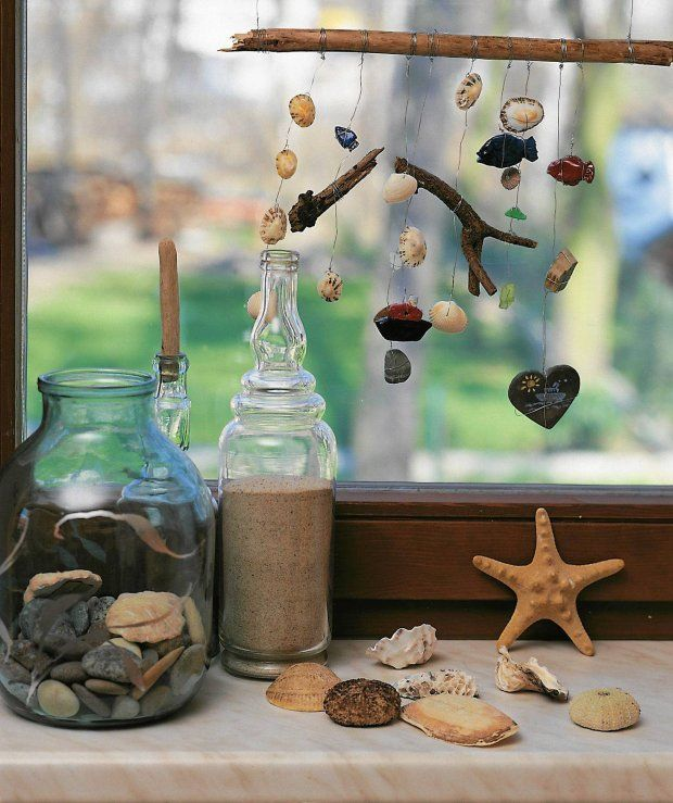 make a wind chyme out of wire, wood and seashells
