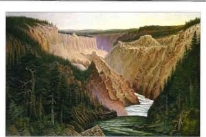 Grafton Tyler Brown, Canyon River with Pines and Figures (Yellowstone),1886, Oil on canvas