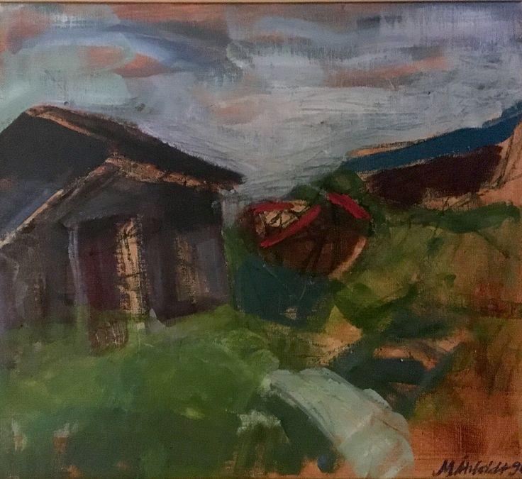 Boat house. Båthus 47x41,8 cm + wood frame 1,5 cm. Acrylic painting on canvas by Marie Åhfeldt, Mås Illustra. www.masillustra.se #painting #art #masillustra #seaside #boat