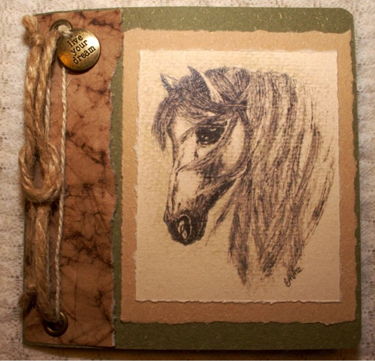 "Horse blank Birthday Card. Ink and wash drawing. Green recycled textured card, natural string, ""live your dream"" bronze metal charm. OOAK."